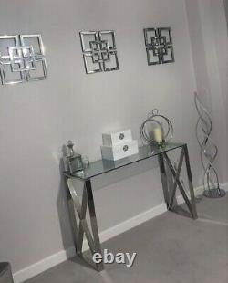 Zena X Contemporary Clear Glass Stainless Steel Console Hall Display Table