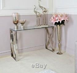 Zenn Contemporary Stainless Steel Clear Glass Console Hall Display Table