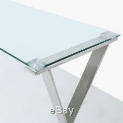 Zenn Contemporary Stainless Steel Clear Glass Home Office Desk Table
