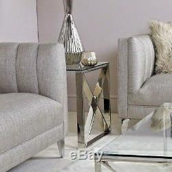 Zenn Contemporary Stainless Steel Clear Glass Side End Lamp Display Table